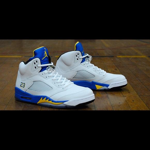 Jordan Shoes   Laney 5s Whiteyellowblue